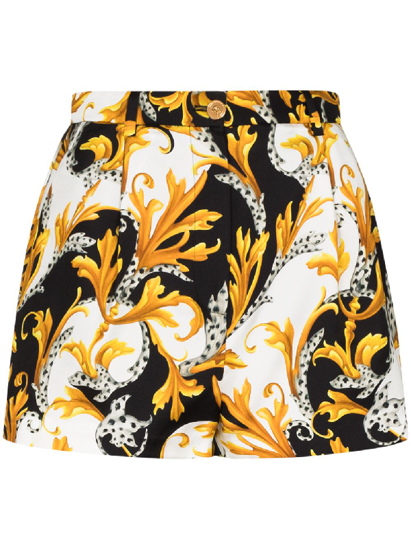 Versace Baroque Print Shorts In White