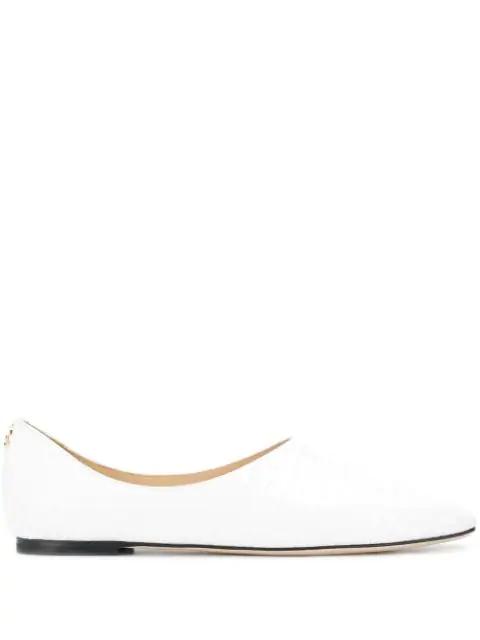 Jimmy Choo White Joselyn Mock Croc Leather Shoes