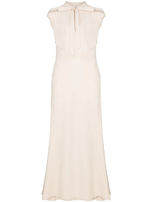 Roland Mouret Katios Open Tie Neck Dress In White