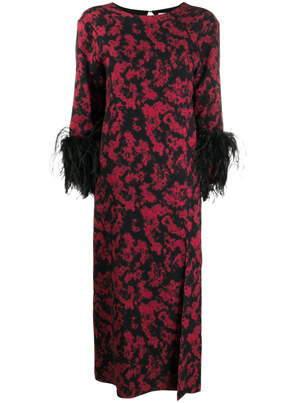 16arlington Billie Printed Feather-trimmed Midi Dress In Red