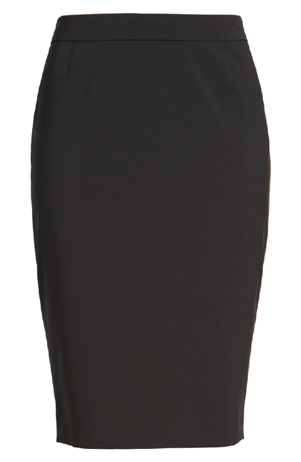 Boss Vilea Tropical Stretch Wool Pencil Skirt In Charcoal