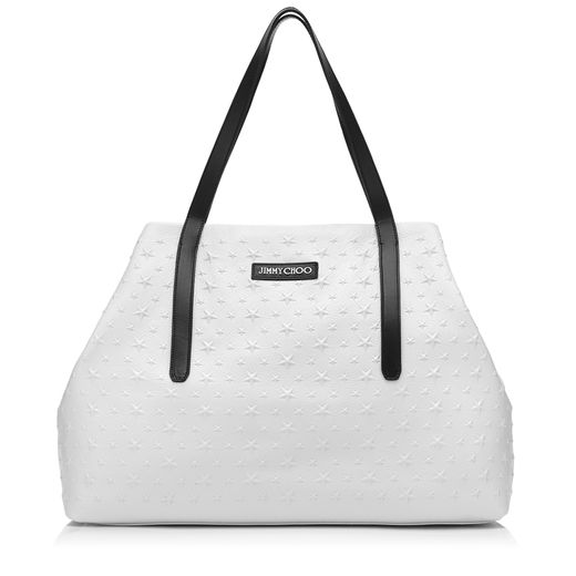 Jimmy Choo Pimlico Chalk Grainy Leather Tote Bag With Embossed Stars