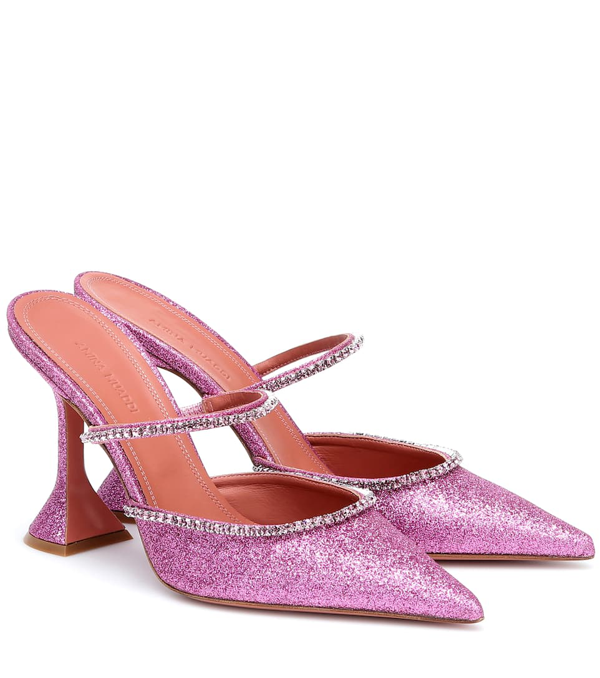 Amina Muaddi Gilda 95mm Crystal-embellished Mules In Pink