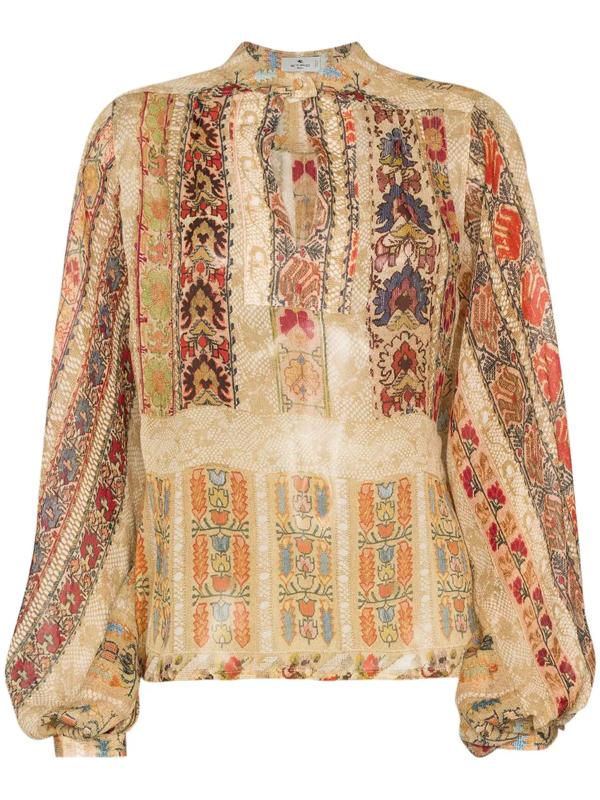 Etro Floral-print Silk-crepon Blouse In Beige