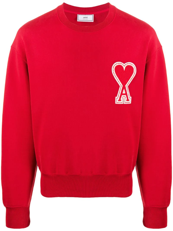 Ami Alexandre Mattiussi Ami De Coeur-patch Cotton-jersey Sweatshirt In Red