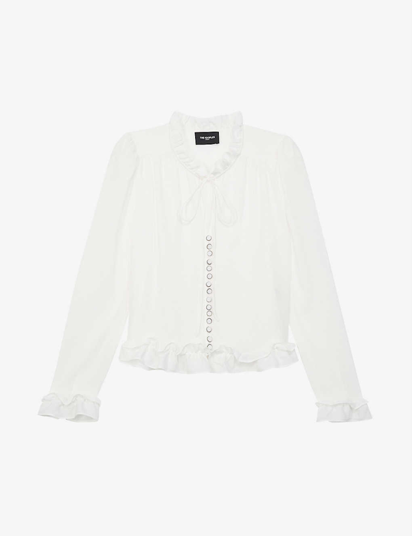 The Kooples Ruffled Satin-silk-blend Blouse In Ecru
