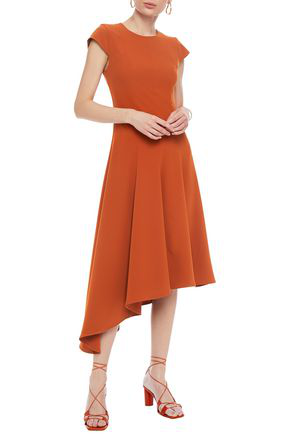 Iris & Ink Alexandra Asymmetric Crepe Dress In Copper