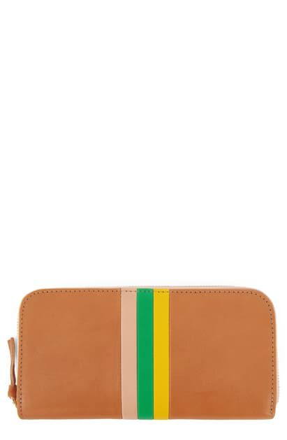 Clare V Leather Zip Around Wallet In Natural Rustic