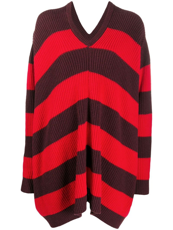 Marni Ribbed Knit Striped Jumper In Red
