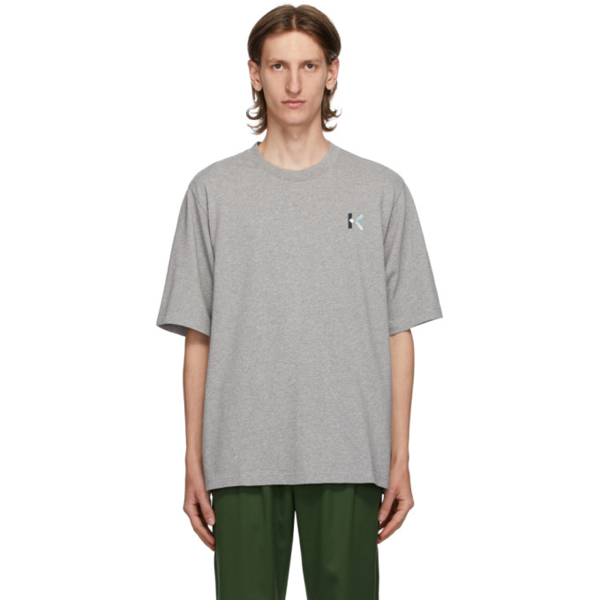 Kenzo Embroidered-logo T-shirt In 94 Pearl Gr