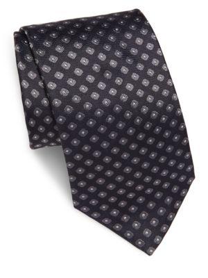 Brioni Woven Geometric-Pattern Silk Tie In Charcoal