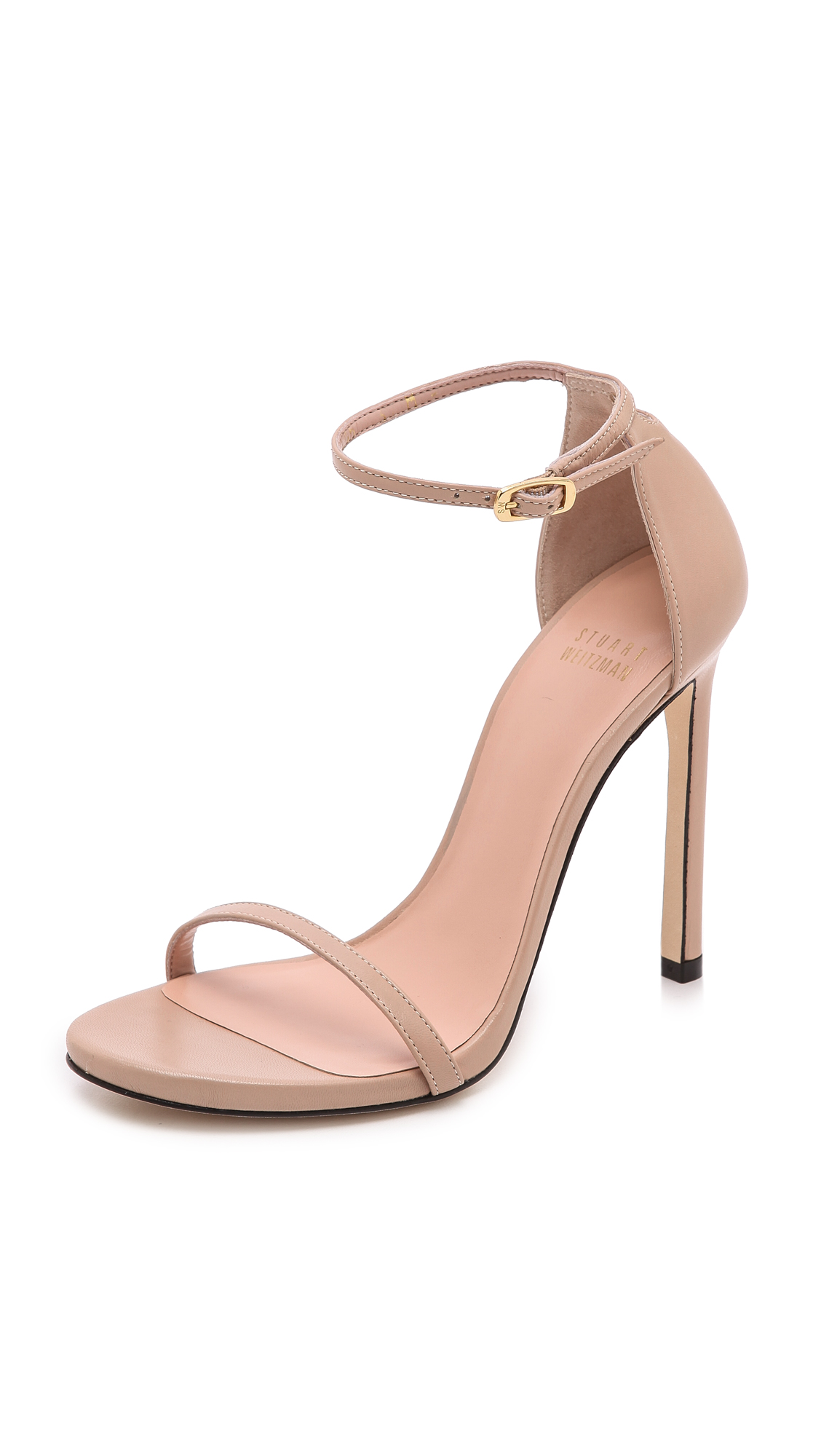 Stuart Weitzman 'nudist Song' Ankle Strap Patent Leather Sandals In Adobe