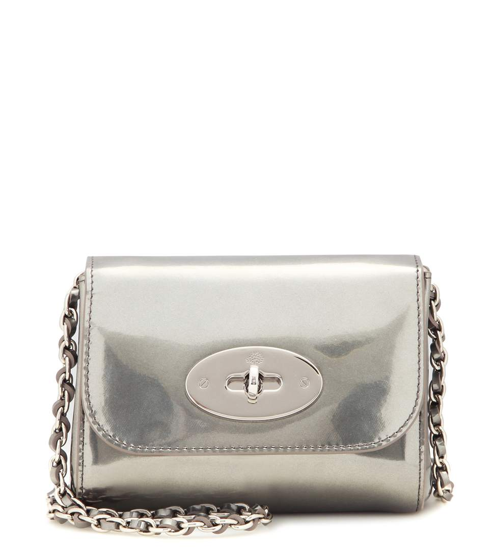 Mulberry Mini Lily Metallic Leather Shoulder Bag In Silver  1080bcb0a2572
