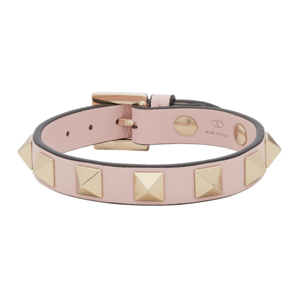 Valentino Garavani Garavani Rockstud Leather Bracelet In Poudre
