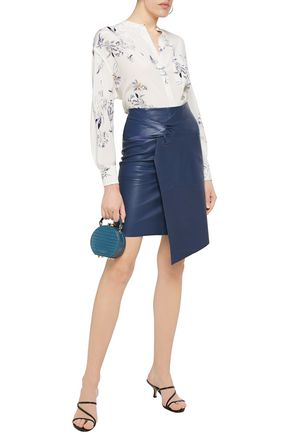 Ba&sh Asymmetric Twisted Leather Skirt In Storm Blue