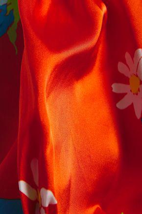 De La Vali Floral-print Stretch-satin Mini Dress In Tomato Red