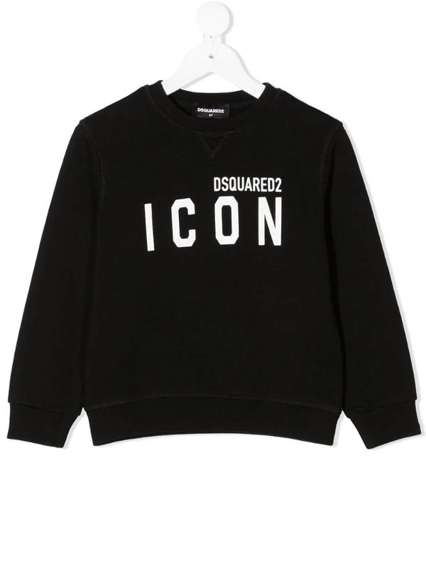 Dsquared2 Kids' Black Boy Sweatshirt With White Logo
