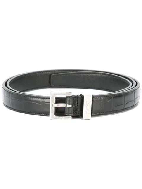 110d3be2efe Saint Laurent 2Cm Black Pebble-Grain Leather Belt | ModeSens