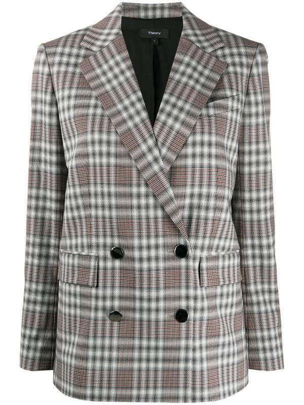 Theory Double-breasted Angled Yukon Blazer In Grey