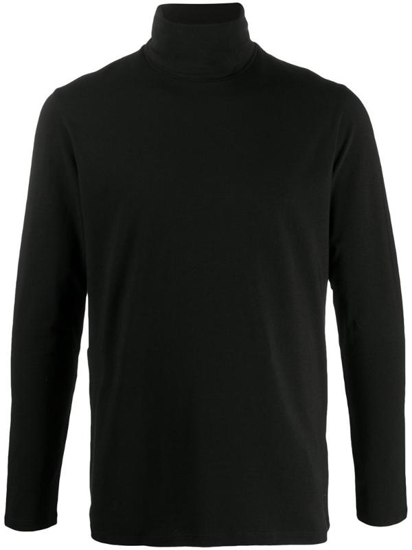 Jil Sander Roll-neck Cotton-blend Jersey Top In Black
