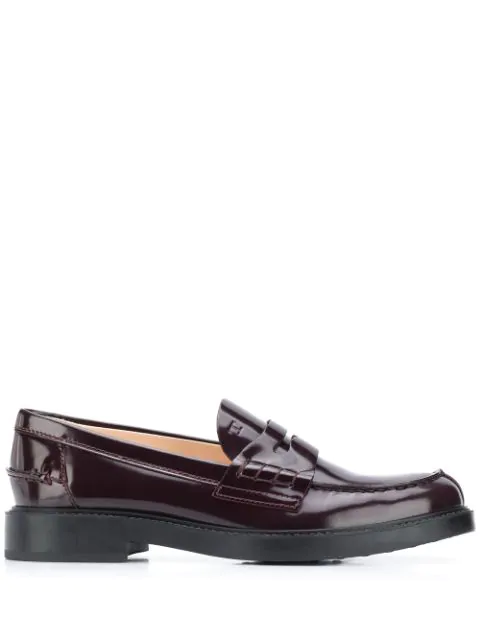 Tod's Patent Flat Penny Loafers In Red