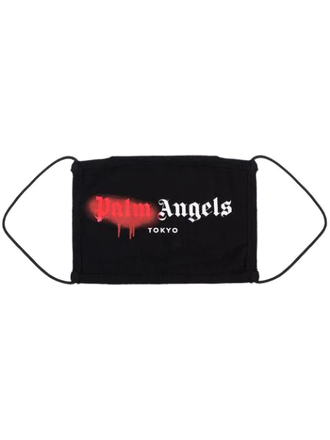 Palm Angels Tokyo Spray Logo Print Cotton Face Mask In Black