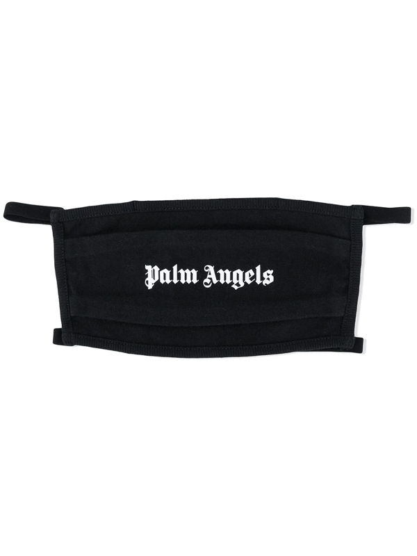 Palm Angels Logo Cotton Jersey Face Mask In Black