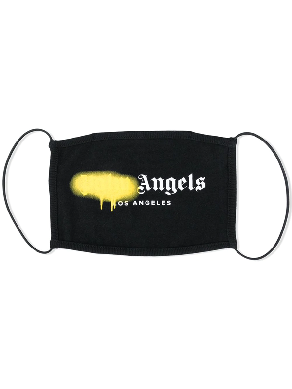 Palm Angels Los Angeles Spray Logo Cotton Face Mask In Black