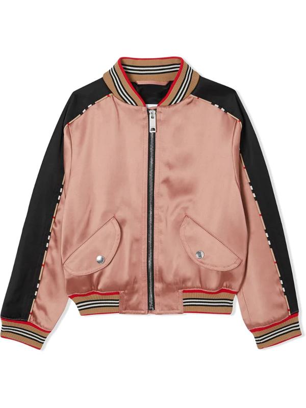Burberry Kids' Little Girl's & Girl's Imogen Satin Deer Bomber Jacket In Pink