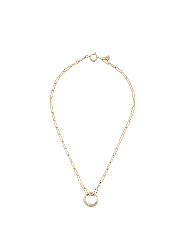Isabel Marant Cable Chain Circle Charm Necklace In Gold