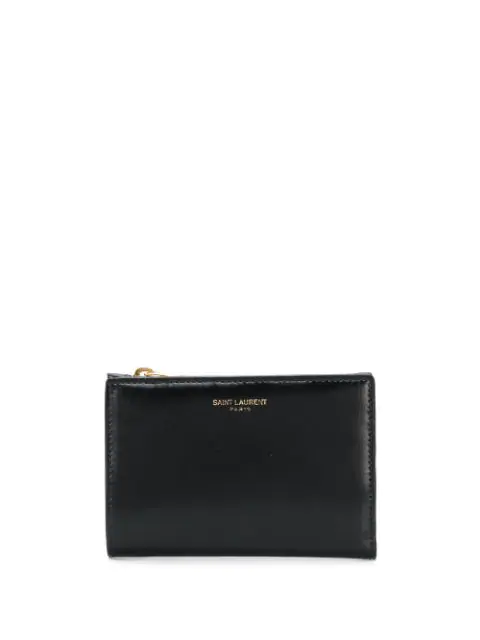 Saint Laurent Bi-fold Embossed Logo Wallet In Black