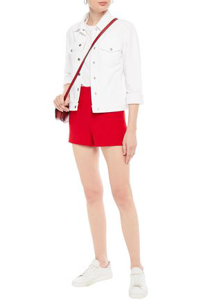 Valentino Wool And Silk-blend Crepe Shorts In Red