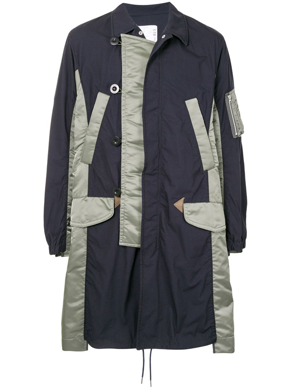 Sacai Shell-panelled Double-breasted Coat In Blue