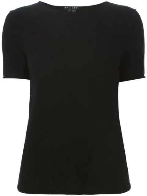 Theory Cashmere Tolleree Short Sleeve Sweater In Black