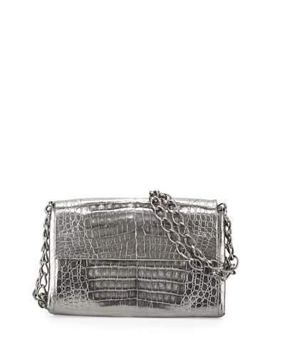 Nancy Gonzalez Crocodile Small Chain-strap Shoulder Bag, Anthracite