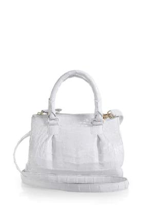 Nancy Gonzalez Crocodile Mini PlissÉ Crossbody Bag In White