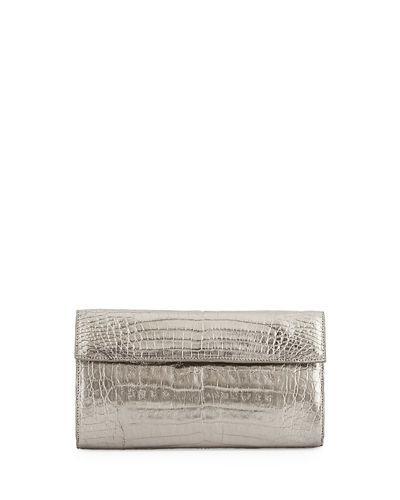 Nancy Gonzalez Small Double-flap Clutch Bag In Gunmetal M