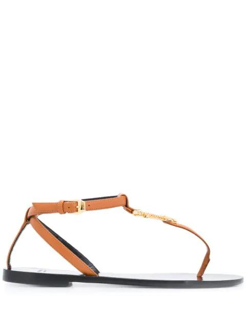 Versace Virtus T-bar Flat Sandals In Neutrals