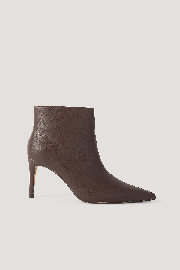 Na-kd Slim Pointy Stiletto Boots - Brown In Chocolate