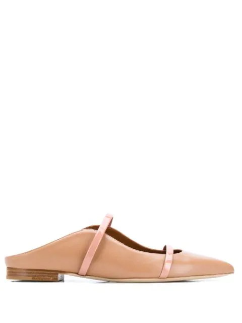 Malone Souliers Maureen Nappa And Patent Leather Flat Mules In Neutrals