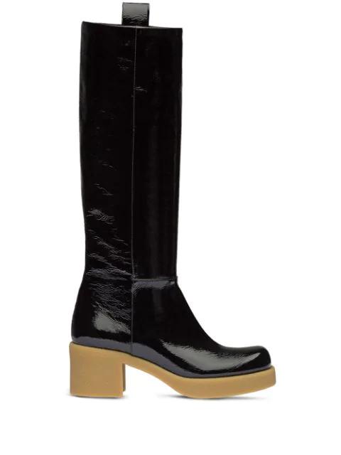 Miu Miu Crinkled Patent-leather Platform Knee Boots In Black