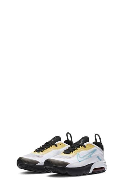 Nike Kids' Air Max 2090 Sneaker In White/ Aqua/ Black/ Yellow