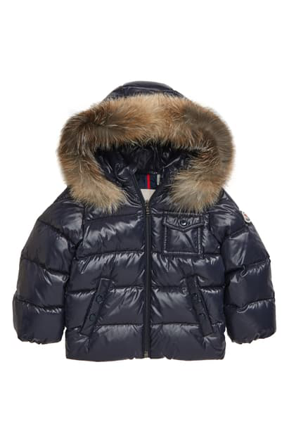 Moncler Babies' K2 Water Resistant Hooded Down Puffer Jacket With Genuine Fox Fur Trim In Navy