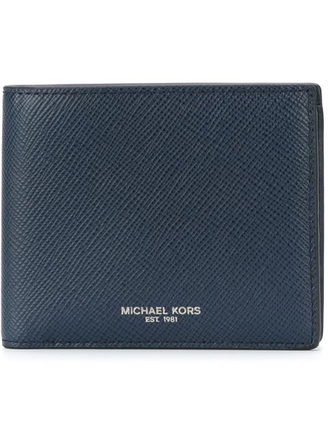 Michael Kors Harrison Leather Billfold Wallet In Navy
