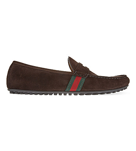 Gucci Brown Suede Web Stripe Driving Loafers In Cocoa Suede