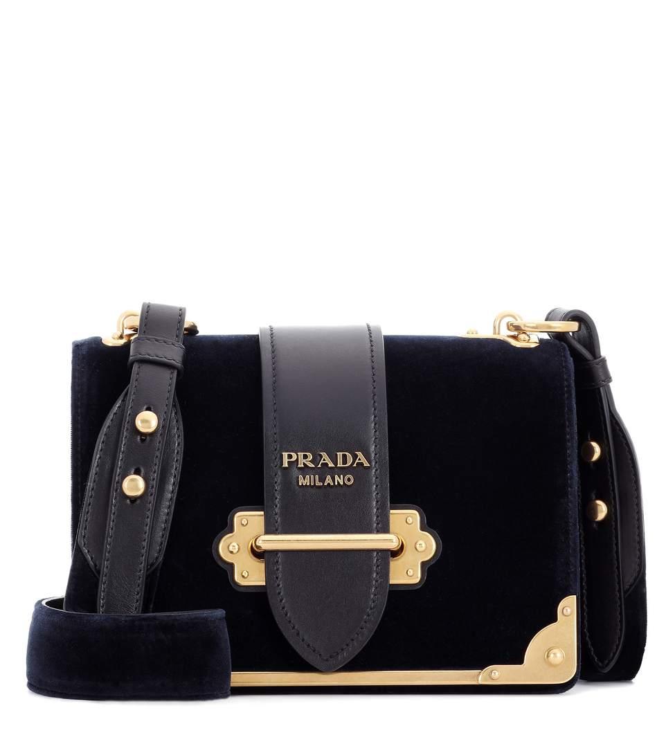 e1d24a7c63ac Prada Cahier Velvet Shoulder Bag In Llue+Eero | ModeSens