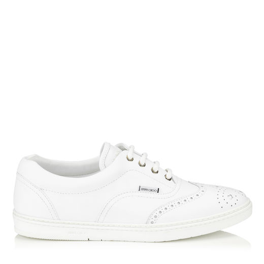 Jimmy Choo Brian Men's Wing-tip Leather Low-top Sneaker, White