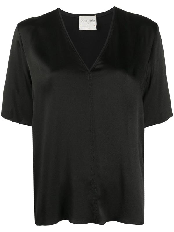 Forte Forte T-shirt Scollo V In Raso Color Nero In Black