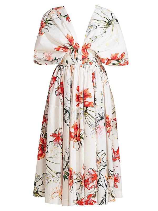 Alexander Mcqueen Women's Printed Eternal Florals Midi Dress In Ivory Mix