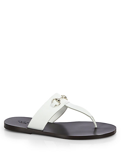 b1a68a178 Gucci Marcy Leather Horsebit Thong Sandals In White